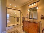 Take a rinse in the walk-in shower after a day of adventures.