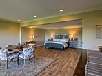 A sumptuous king bed highlights the sleeping area.