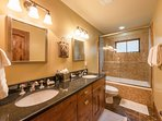 Lower Level Bathroom with Tub and Shower, Dual Sinks