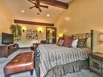 Grand Master Bedroom with King Bed, Gas Fireplace, Flat Screen TV, Private Deck, Private Bath