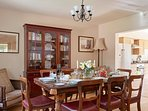 Kirkbride Hall has an open plan kitchen and dining area furnished with antiques and solid oak floors