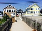 View of our home from the beach. Crosswalk leads to Public way and beach access