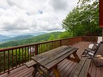 Deck with sweeping views from Cool View Cabin.
