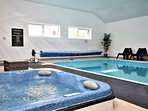 Shared indoor heated swimming pool, with hot tub and baby pool