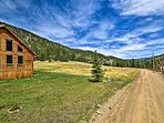 The house rests off of a gravel road at 9,000 feet of elevation.