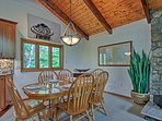 From the stone wall to the exposed wood beams, you'll love the interior decor.