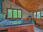 Relax in the soothing hot tub after a day of hiking.