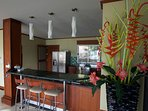Breakfast bar adjoining kitchen