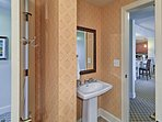 The full bathroom down the hall has 2 doorways for your convenience.