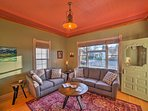 A large living room with comfy furnishings is ideal for relaxing with the family.