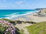the view of blue flag Porthtowan beach from the coasta path on West cliff.. 5 minutes walk away