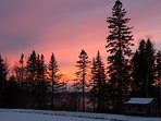 Rangeley Lake Resort Cabin at Sunset