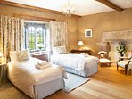The Lady Jane Grey Room at the top of the North Tower, ensuite with beds that can be singles or 6ft