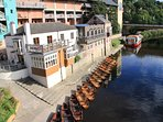 Rowing boats for hire on the river in Durham City