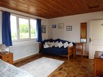 Bedroom 1 - Double with the option for  an additional single and or cot. Access to terrace