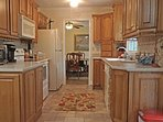 Fully stocked kitchen w easy access to dining room & family room. Open space. Oven,stove,microwave