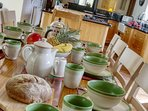Old Stables kitchen, lots of beautiful crockery, and crystal glassware in all the cottages