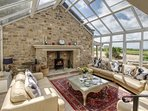 Huge conservatory in Woodpecker, magnificent fireplace & woodburning stove. Amazing panoramic views