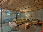 The partially finished, remodeled basement provides a great relaxation space.