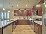 This fully equipped kitchen is complete with stainless steel appliances!