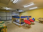 This garage has been converted into a bunk room for the kids.