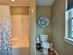 The master bath also comes equipped with a shower/tub combo.