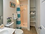 An ensuite bathroom makes it easy to freshen up before crawling into bed.