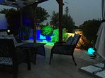 Enjoy the terrace in the evening with subdued lighting