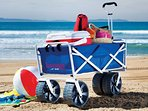 OUr complimentary beach equipment is yours to use while you are here! Cooler, chairs, wagon and more