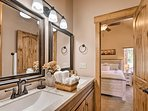 With lots of mirror space, the bathroom is easily shareable.