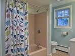 A full bathroom with shower/tub combo is great for everyone to get ready!