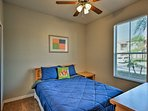 The downstairs bedroom with queen bed is great for privacy.