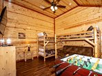 1st Upper Level Bunk Room equipped with Foosball, Games 3-Twin Beds and a Queen Futon with Private Bathroom