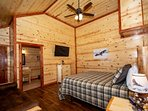 2nd Upper Level King Size Master Suite with Private Bathroom and Queen Futon for additional guests.