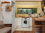Kitchen area: including oven/hob, fridge/freezer, coffee machine, toaster, kettle, iron, micrwave