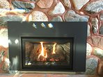 gas fireplace in sunken firepit