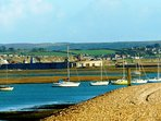 From Milford Beach looking towards Hurst Castle and the Isle of Wight