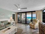 Balcony access from this living room.  Great balcony with amazing views from this 5th floor unit.