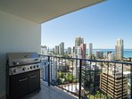 Balcony with BBQ available, views at night are as amazing as throughout the day
