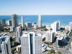 Apartment building view overlooking Surfers Paradise beach located within 500m