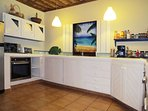 The kitchen at Villa Punta Coral is well-equipped. There is a second refrigerator in the garage.