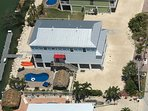 Arial view of the house and outside areas, Tiki, Dock, pool, parking area