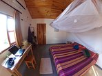 Fish eye view of the bedroom.