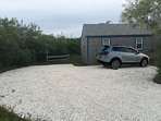 Private, clamshell driveway.