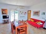 Villa Marela living room and fold out sofa bed