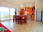 Villa Marela living room and kitchen.