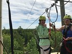Take time out and have a blast zip lining at LakeShore Adventures in Baileys Harbor.  (pic of Robin)