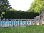 Pool showing fence