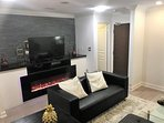 Cable TV with Premium channels and a faux fireplace if you are meeting friends