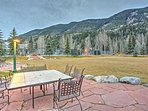 Socialize on the community patio overlooking the mountains with a gas grill!